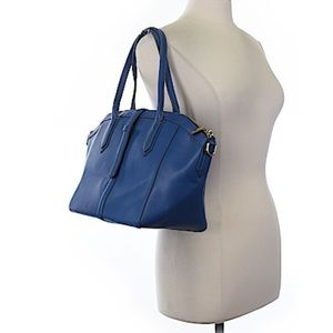 J Crew Navy Blue Leather Tote